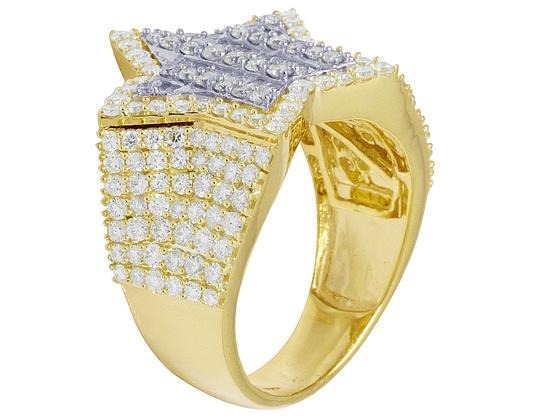 Jewelry Unlimited Mens Yellow Gold Baguette Diamond Super Star Pinky Ring 20mm 3 CT Image 3