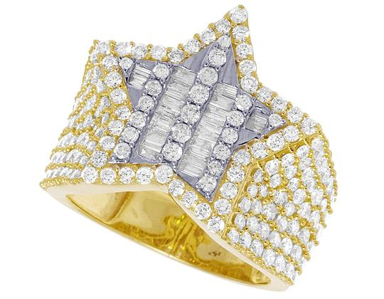 Jewelry Unlimited Mens Yellow Gold Baguette Diamond Super Star Pinky Ring 20mm 3 CT Image 4