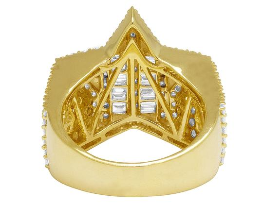 Jewelry Unlimited Mens Yellow Gold Baguette Diamond Super Star Pinky Ring 20mm 3 CT Image 5