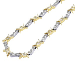Jewelry Unlimited Two Tone Gold Barbed Wire Thorn Baguette Diamond Chain 22