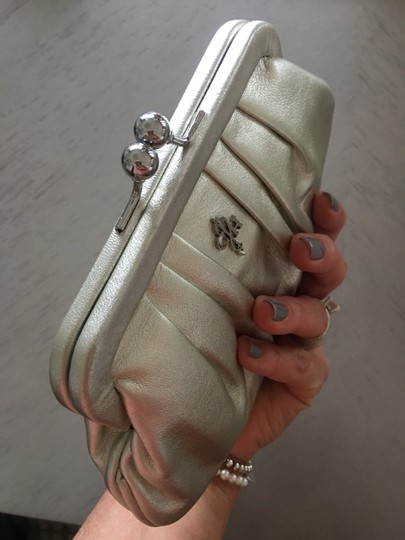 Cole Haan Evening Night Out White Gold Baguette Silver Clutch Image 1