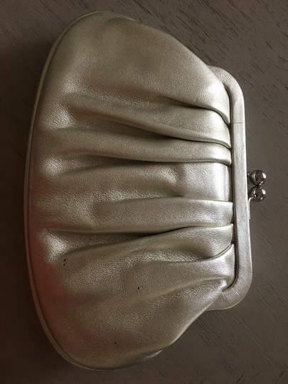 Cole Haan Evening Night Out White Gold Baguette Silver Clutch Image 2