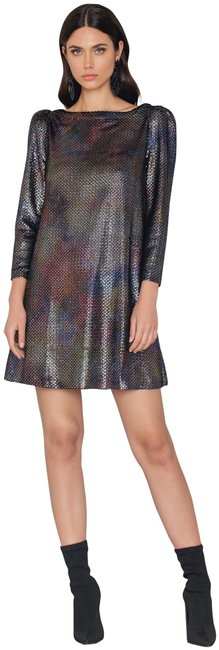 Item - Silver Iridescent Diamonds Are Forever Metallic Puffed Sleeve Style#ob667962 Short Night Out Dress Size 2 (XS)