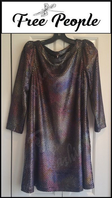 Free People Boat Neck Puffed 3/4 Sleeve Diamond Metallic Side Pockets Structured Shoulders Dress Image 1