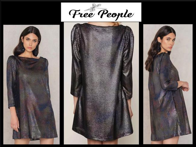 Free People Boat Neck Puffed 3/4 Sleeve Diamond Metallic Side Pockets Structured Shoulders Dress Image 2