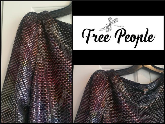 Free People Boat Neck Puffed 3/4 Sleeve Diamond Metallic Side Pockets Structured Shoulders Dress Image 3