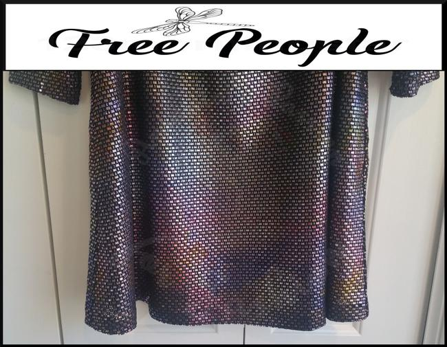 Free People Boat Neck Puffed 3/4 Sleeve Diamond Metallic Side Pockets Structured Shoulders Dress Image 4
