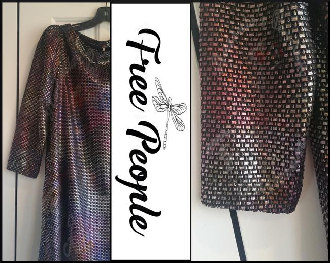 Free People Boat Neck Puffed 3/4 Sleeve Diamond Metallic Side Pockets Structured Shoulders Dress Image 7