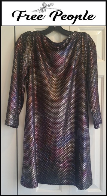 Free People Boat Neck Puffed 3/4 Sleeve Diamond Metallic Side Pockets Structured Shoulders Dress Image 8
