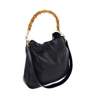 Gucci 2-way Bamboo Leather Shoulder Bag