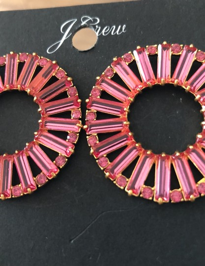 J.Crew Bagett Crystals Round Post Earrings Image 2