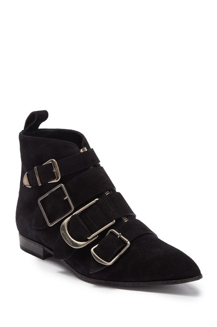 Item - Black Leather Milner Buckles Moto Pointy Toe Suede 38.5 (S14) Boots/Booties Size US 9.5 Regular (M, B)