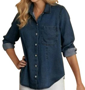 Soft Surroundings Relaxed Fit Shirt Jacket Tencel Button Front Tunic