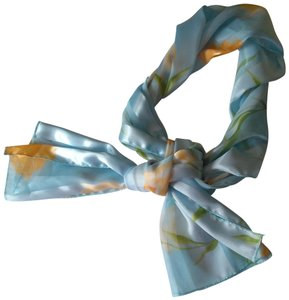 Vintage Vintage Scarf Light Blue w/Yellow and Green Floral