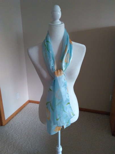 Vintage Vintage Scarf Light Blue w/Yellow and Green Floral Image 1