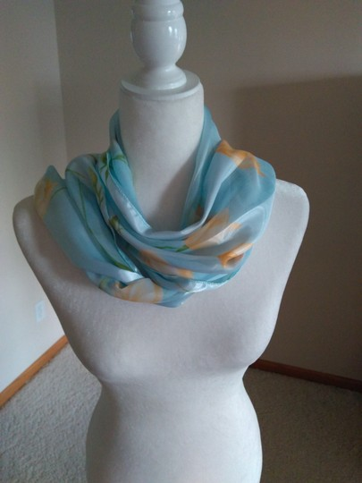 Vintage Vintage Scarf Light Blue w/Yellow and Green Floral Image 2
