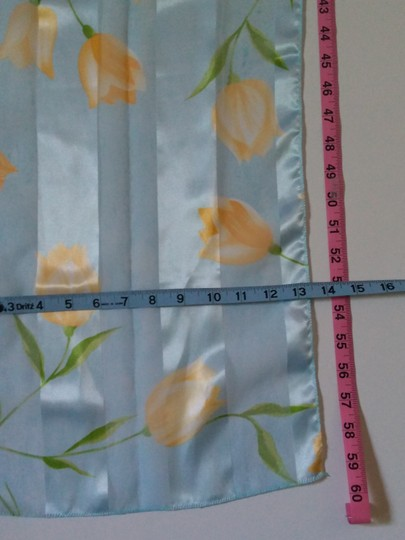 Vintage Vintage Scarf Light Blue w/Yellow and Green Floral Image 7