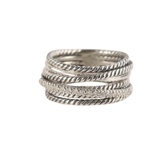 Preload https://img-static.tradesy.com/item/26412279/david-yurman-silver-crossover-diamond-ring-0-2-540-540.jpg