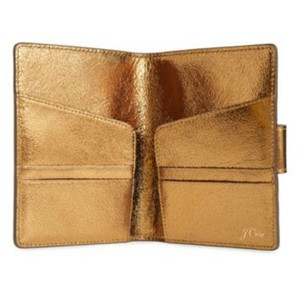J.Crew Gold metallic leather passport holder