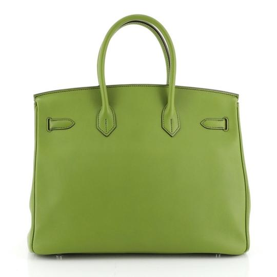 Hermes Leather Satchel in green Image 2