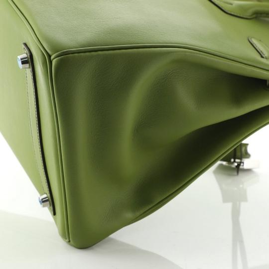 Hermes Leather Satchel in green Image 4