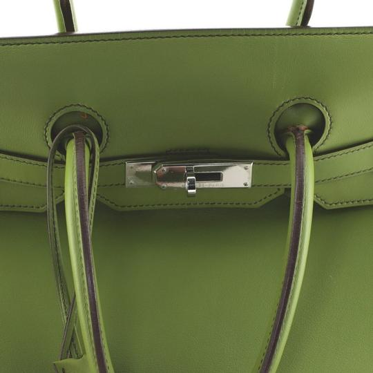 Hermes Leather Satchel in green Image 5