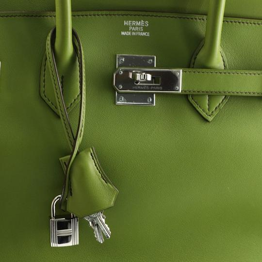 Hermes Leather Satchel in green Image 7