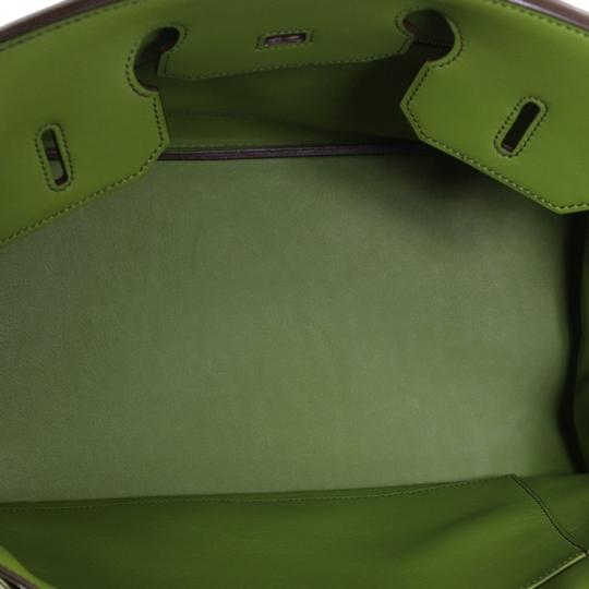 Hermes Leather Satchel in green Image 8