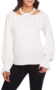 1.STATE Longsleeve Monochrome Cold Shoulder Keyhole Ruffle Top White