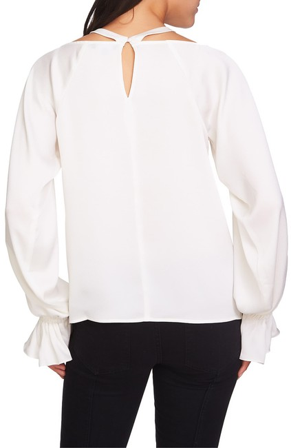 1.STATE Longsleeve Monochrome Cold Shoulder Keyhole Ruffle Top White Image 1