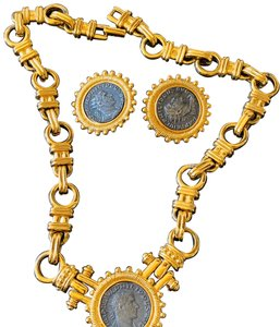 Carolee carolee bvlgari style coin necklace and earrings