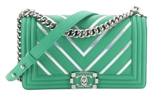 Chanel Leather Textile Cross Body Bag