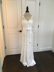 Adrianna Papell White Lace Casual Wedding Dress Size 14 (L)