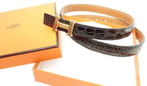 Hermes in Box Brown Constance 23 mm Mini Crocodile Leather 74cm Buckle Belt M