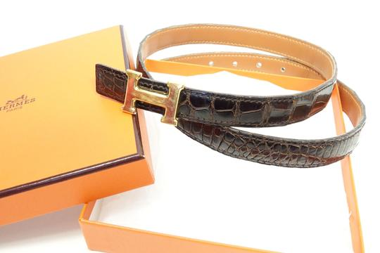 Hermes in Box Brown Constance 23 mm Mini Crocodile Leather 74cm Buckle Belt M Image 8