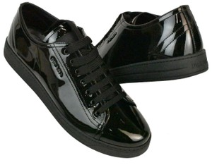 Prada Patent Leather Lace Up Tennis Sneakers Low Top Designer Black Athletic