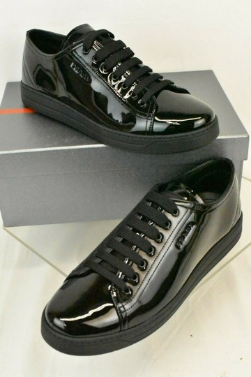 Prada Patent Leather Lace Up Tennis Sneakers Low Top Designer Black Athletic Image 1