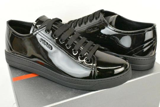 Prada Patent Leather Lace Up Tennis Sneakers Low Top Designer Black Athletic Image 2