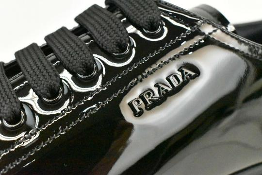 Prada Patent Leather Lace Up Tennis Sneakers Low Top Designer Black Athletic Image 3