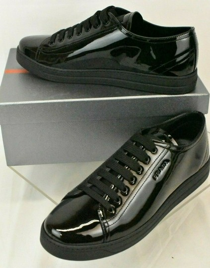 Prada Patent Leather Lace Up Tennis Sneakers Low Top Designer Black Athletic Image 4