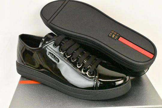 Prada Patent Leather Lace Up Tennis Sneakers Low Top Designer Black Athletic Image 6