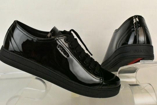 Prada Patent Leather Lace Up Tennis Sneakers Low Top Designer Black Athletic Image 8