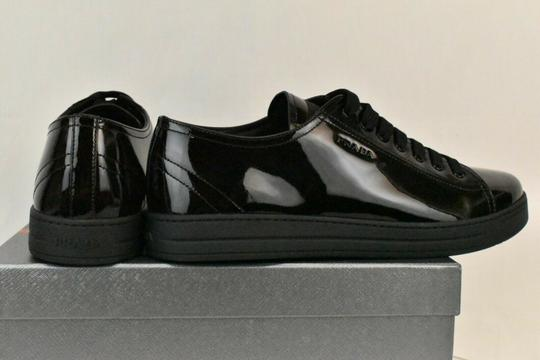Prada Patent Leather Lace Up Tennis Sneakers Low Top Designer Black Athletic Image 9