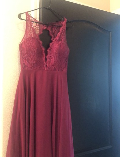 Hayley Paige Burgundy/Wine Chiron/Lace Top Formal Bridesmaid/Mob Dress Size 6 (S) Image 1