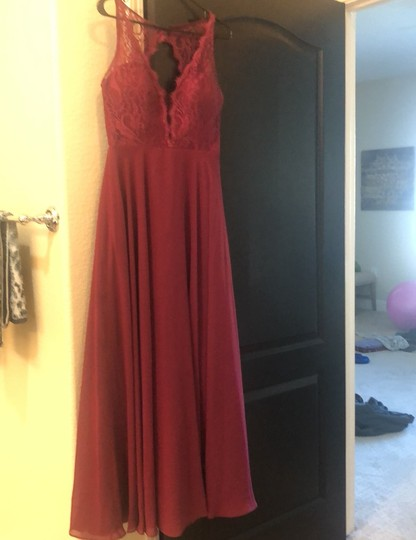 Hayley Paige Burgundy/Wine Chiron/Lace Top Formal Bridesmaid/Mob Dress Size 6 (S) Image 2
