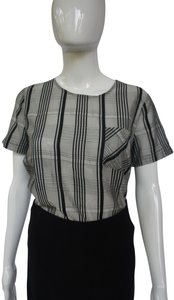 Novis Shirt Silk And Linen Graphic Top gray, black, white