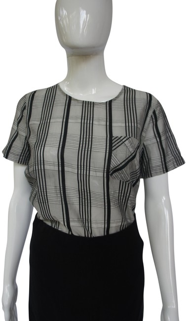Item - Gray Black White Silk and Linen Blend Graphic Check Short Sleeve Blouse Size 6 (S)