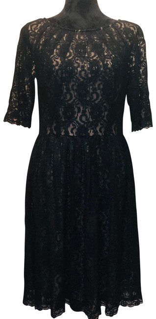 Item - Black / Nude Lace Cocktail Mid-length Short Casual Dress Size 12 (L)