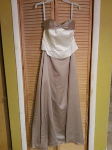 Alfred Angelo Ivory Cafe Satin 6306 Formal Bridesmaid/Mob Dress Size 16 (XL, Plus 0x)