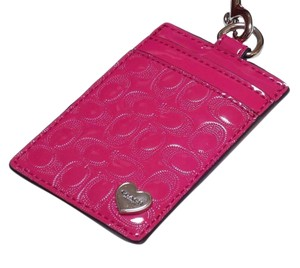 Coach COACH ID HOLDER CARD LANYARD PINK LEATHER TAG BADGE PASS